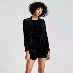 Zara Black Velvet Studded Blazer Jacket, Size Medium